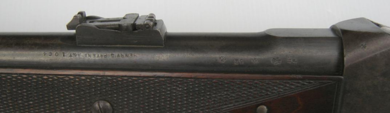 Barrel marked Henry Patent A & T 1064 with Birmingham proof marks, 52 (bore) and crown over AS