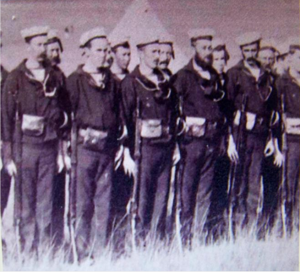 Natal Naval Volunteers parading with their Swinburn Henry  Rifles and Pat.1871 Cutlass Bayonets.